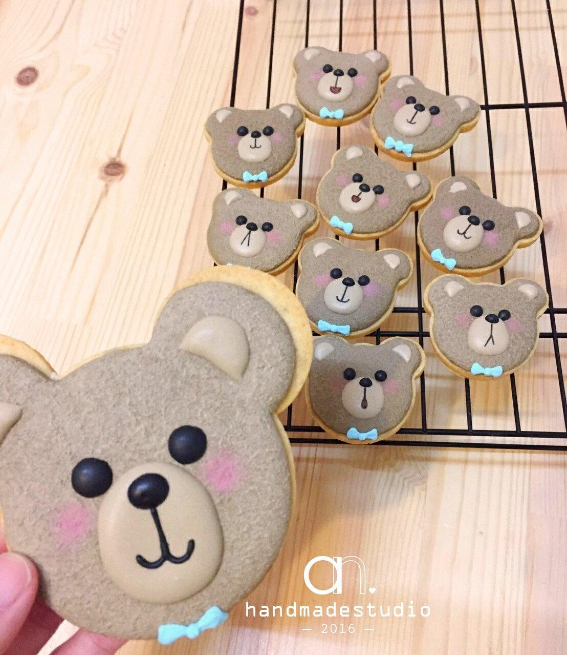 Teddy Bear 可愛小熊頭糖霜餅乾(10入) by anStudio - 限時優惠好康折扣