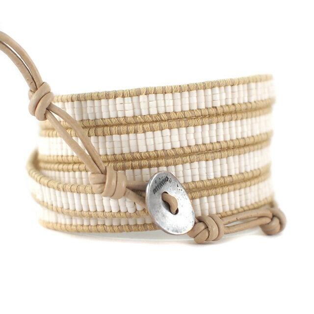 【現貨商品】【CHAN LUU】南洋風編織串珠米色皮繩手環/5圈(CL-BS-3652MatWht  06596300OR) 1