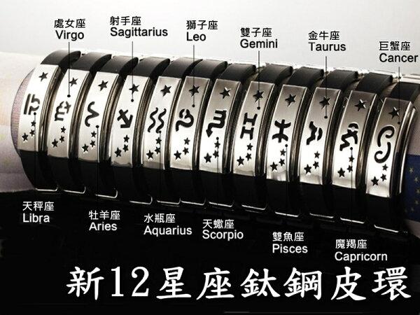 《316小舖》【Q252】(高級鈦鋼手環-新12星座鈦鋼皮環-單件價 /12星座手環/12星座手鐲/鈦鋼十二星座手環)