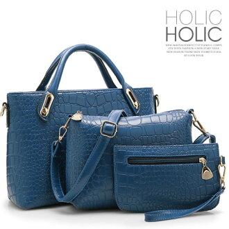 【買一送二】現貨+預購。歐美經典鱷魚紋質感金屬手提三件包 手提包 斜背包 手拿包 包飾衣院 P1294 0