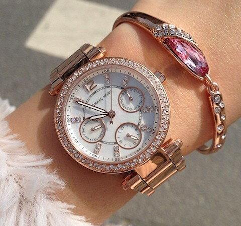 美國Outlet正品代購 MichaelKors MK  玫瑰金陶瓷 水鑽 三環 手錶 腕錶 MK5616 5