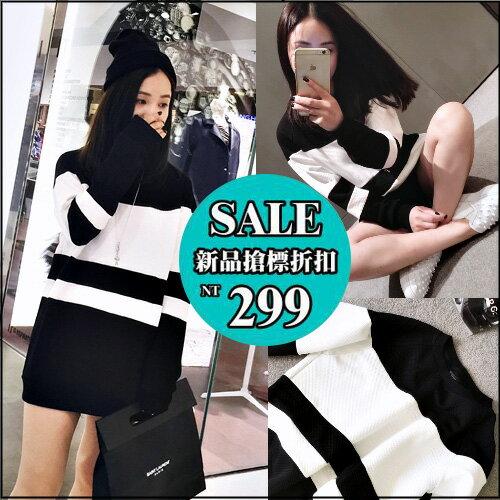 ~克妹~  ~AT32458~韓國CHI極簡風格黑白撞色顯瘦T恤上衣洋裝 ~  好康折扣
