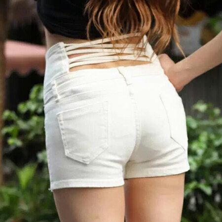 SISI【P6017】完美曲線韓版單排扣高腰美臀鏤空交叉馬甲短褲搭合身露肚擠露腰上衣