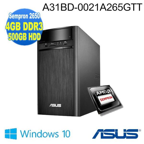 【ASUS】福利品A31BD AMD Sempron 2650 雙核獨顯 4GB 500GB WIN10(A31BD-0021A265GTT) 贈:防毒軟體 卡巴'、M280滑鼠