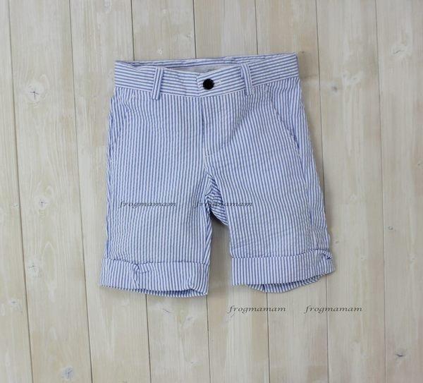 ☆青蛙媽媽☆Jacad*藍白條紋泡泡棉五分褲2T~10T