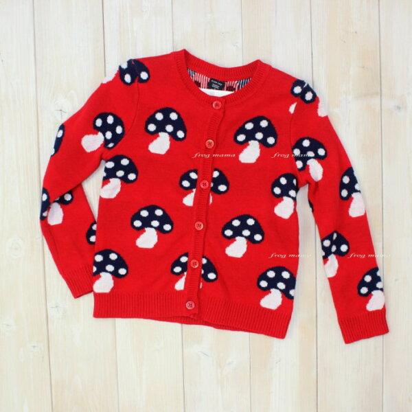 ☆青蛙媽媽☆GAP紅色蘑菇針織外套100~120cm