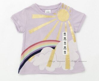 zara時尚燙金彩虹淺紫色棉T.上衣.T恤6/9M(6折專區)