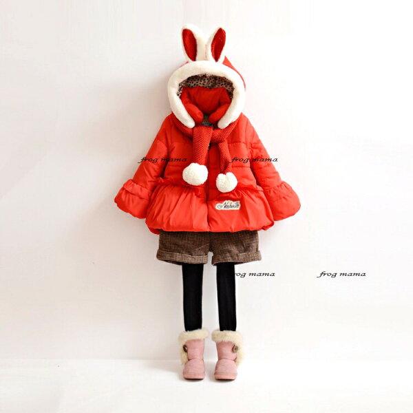 ☆青蛙媽媽☆韓系紅色兔耳朵圍巾防風外套130cm.140cm