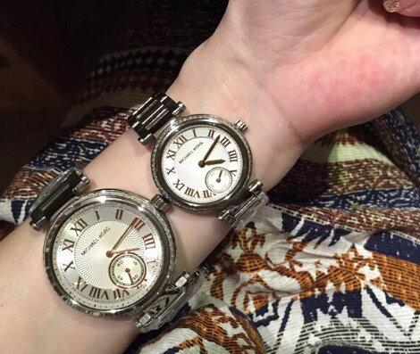 美國Outlet正品代購 MichaelKors MK 復古羅馬鑲鑽銀  陶瓷  三環 手錶 腕錶 MK5970 6