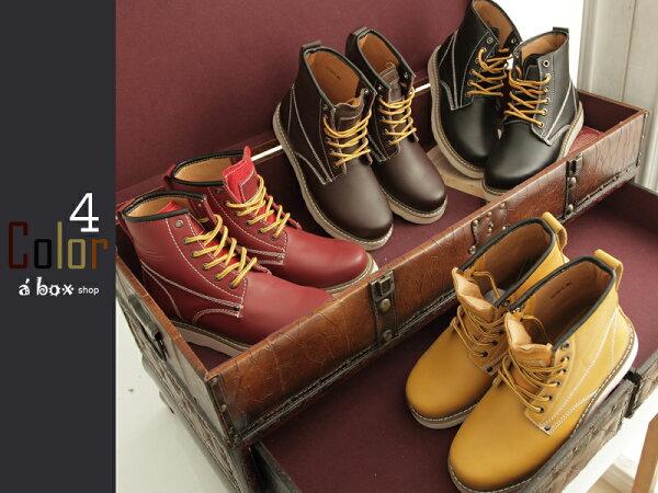 格子舖*【KV2570】 Red wing 同鞋廠 全牛皮製圓頭‧方頭‧固特異鞋底工作靴四色現貨