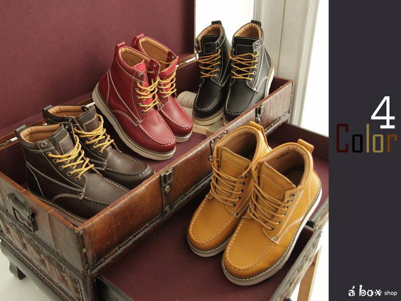格子舖*【KV2570】 Red wing 同鞋廠 全牛皮製圓頭‧方頭‧固特異鞋底工作靴四色現貨 1