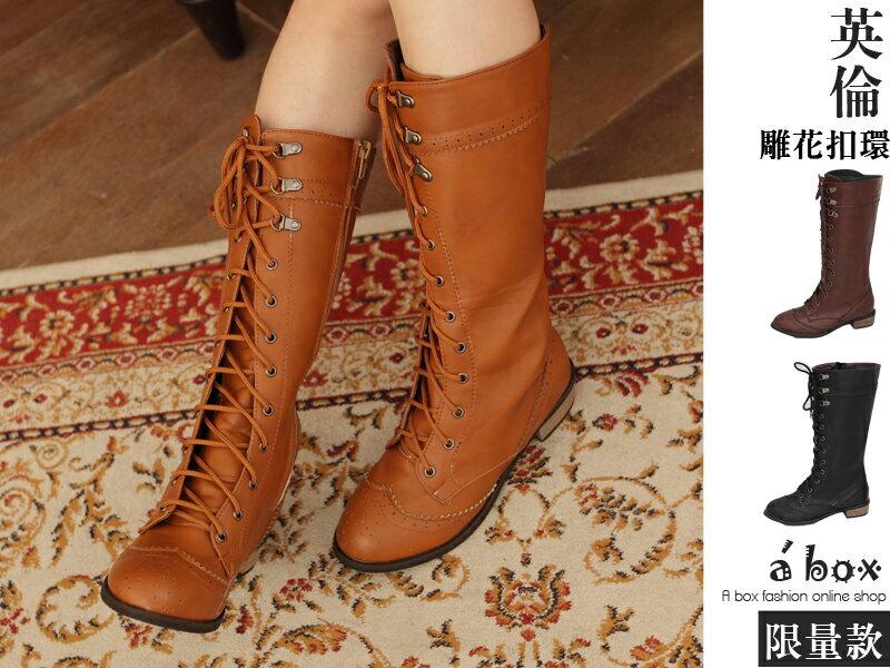 格子舖*【KH988-22】獨家限定 英倫雕花扣環綁帶拉鍊式素面長靴 機車靴 3色現貨 0