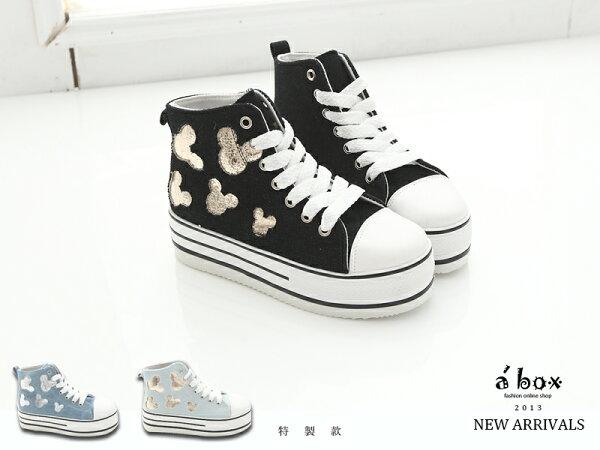 格子舖*【KK836】韓版可愛柏金米老鼠圖案5CM厚底中筒包鞋 厚底帆布鞋3現貨