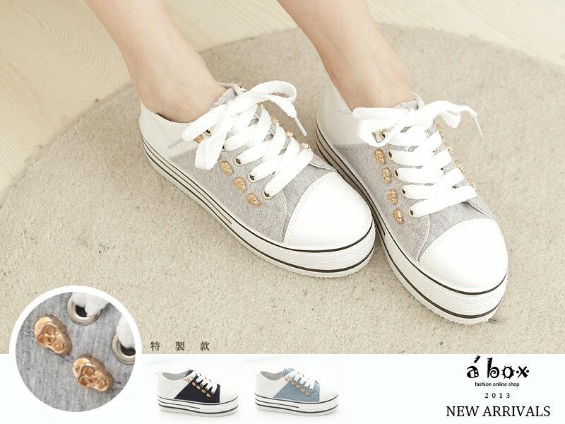 格子舖*【KK839】韓版搖滾牛仔布料金色骷髏5CM厚底包鞋 厚底帆布鞋3色現貨 0