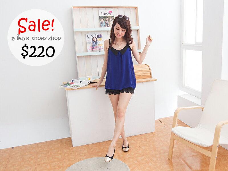 格子舖*【AP840】韓版華麗質感金屬拼接皮質娃娃鞋 懶人鞋 3色現貨 1