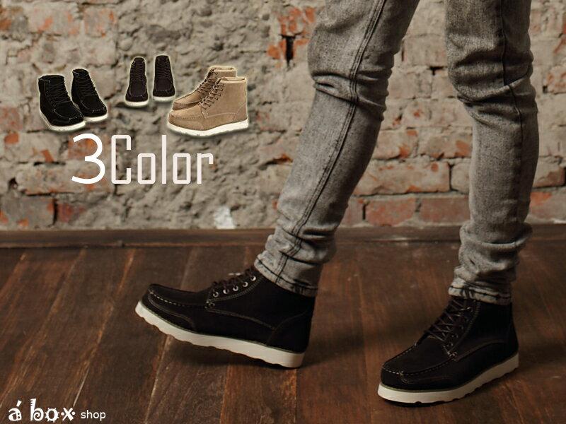 格子舖*【KV020】固特異磨毛牛皮‧高品質經典麂皮靴中筒靴 三色現貨 0