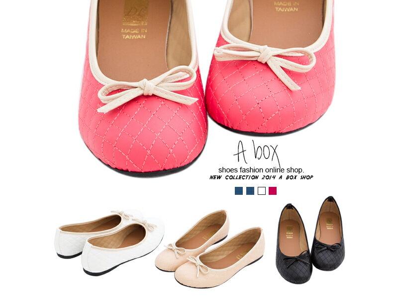 格子舖*【AW880】MIT台灣製 氣質公主風菱格縫線設計皮革蝴蝶結圓頭平底包鞋 兩色 0