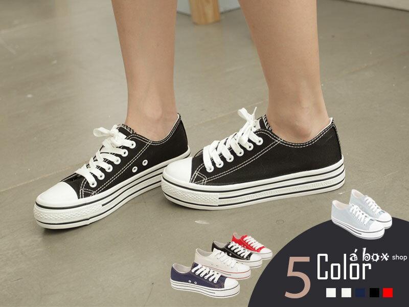 格子舖*【KA2033】日韓系心機款高品質素面增高3.5CM厚底帆布鞋四色 0