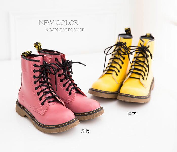 格子舖*【AA601-1】艾薇兒ViVi雜誌款.日系8孔真皮馬汀靴 馬丁鞋 短靴 六色 1