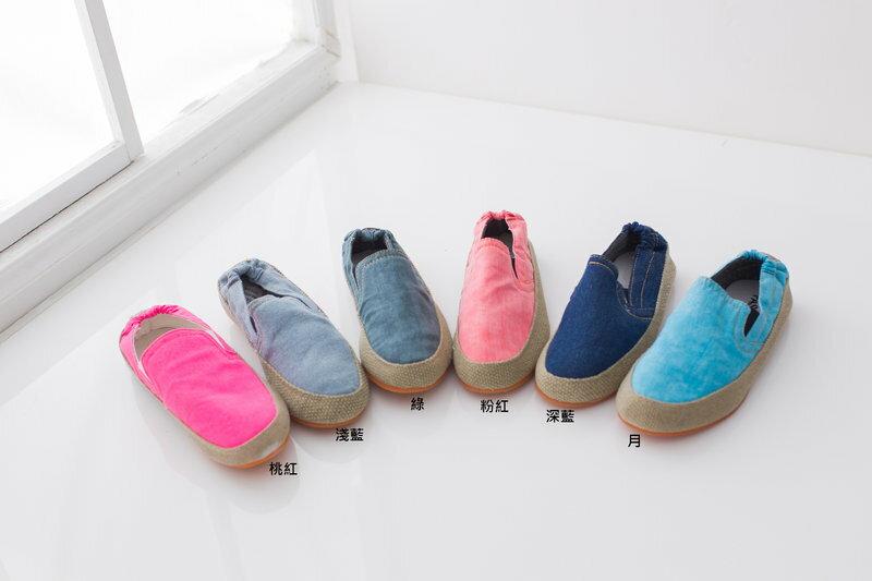 格子舖*【KA910】牛仔布面麻編鬆緊式平底懶人鞋 情侶鞋 (女35-39) 6色現貨 1