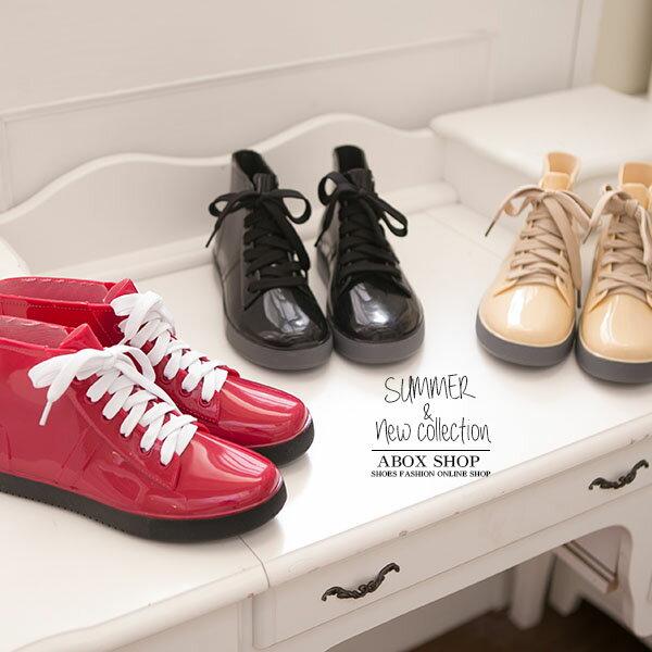 格子舖【晴雨兩穿】2ways 超防水 3種顏色  韓版綁帶造型超防水雨鞋 雨靴 帆布鞋 【AR811】現貨+預購 1
