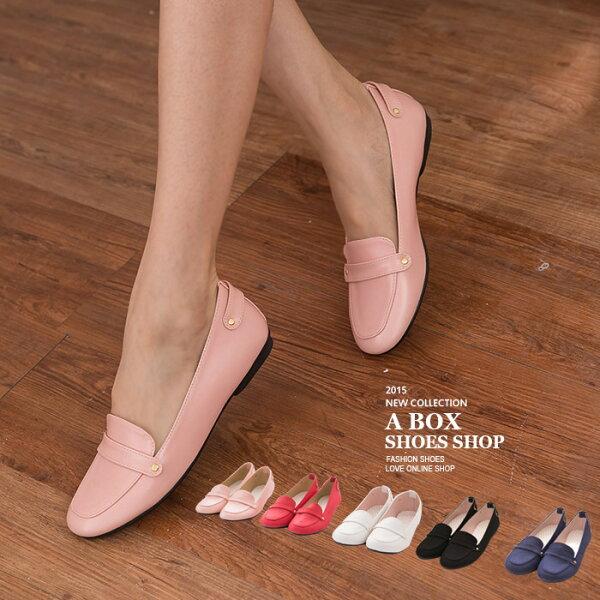 格子舖*【AW650】MIT台灣製 質感仿麂皮 金屬扣綴飾 平底圓頭包鞋 紳士鞋 5色