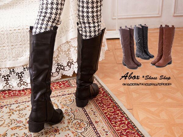 格子舖*【KH539-39】 時尚日韓潮流 拉鍊抓皺設計 低跟粗跟直筒靴中靴長靴機車靴 三色 0