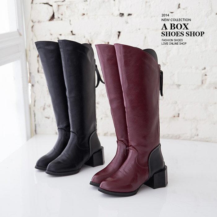 格子舖*【KHX6】英倫風皮革後拉鍊前長後短 馬蹄型鞋跟設計 及膝長筒靴 2色 0