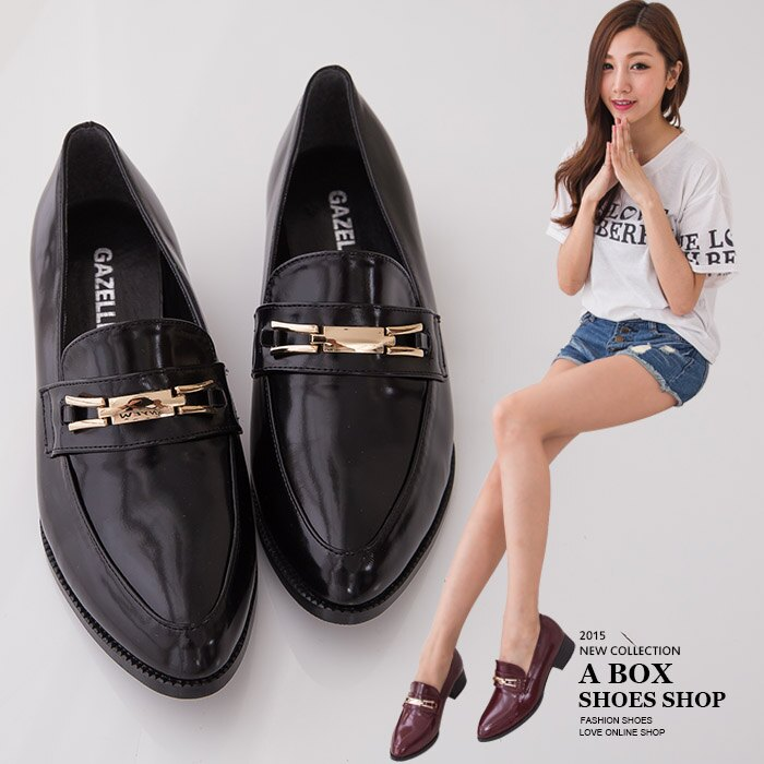格子舖*【KIP616】MIT台灣製 韓版雜誌熱銷款 舒適好走粗低跟 金屬包鞋紳士包鞋 2色 0