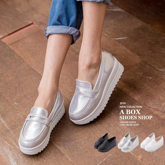 格子舖*【KI680】MIT台灣製 韓版簡約皮革金屬 4.5CM厚底增高鬆糕休閒鞋 3色 0