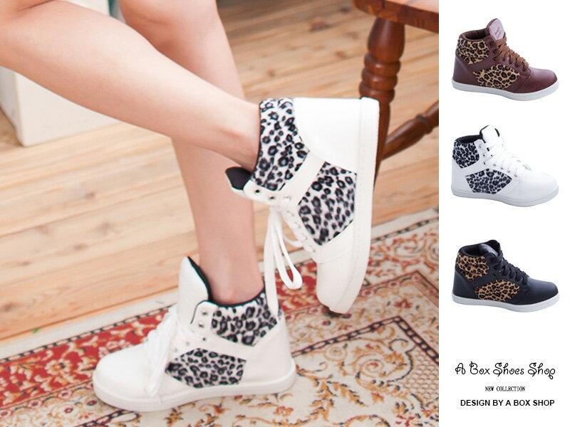 格子舖*【AJ37044】MIT台灣製 百搭時尚豹紋拼接皮質 隱形內增高5cm綁帶高筒球鞋 三色 0