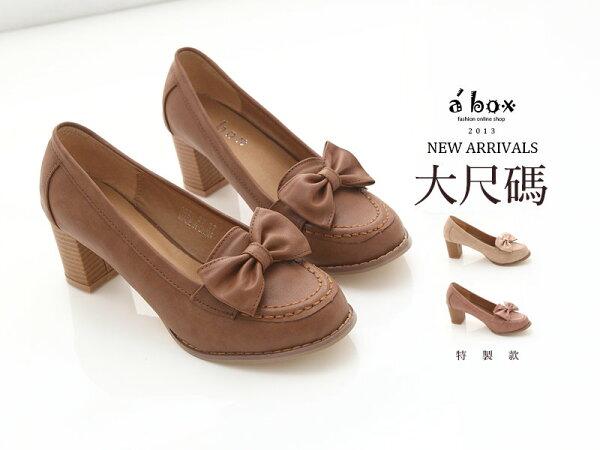 格子舖*【KA0521-20G】大尺碼摩登淑女款皮質素面蝴蝶結6CM粗跟高跟鞋 3色現貨