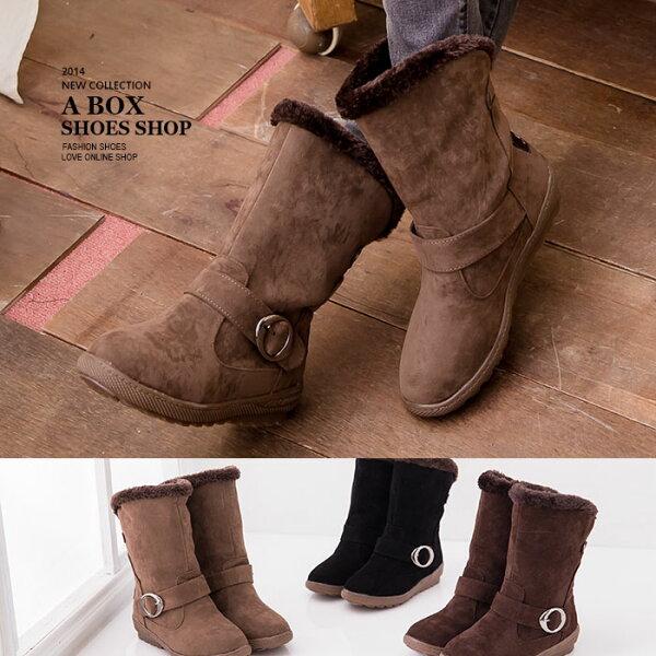 格子舖*【kS6188】寒冬絨毛溫暖內裡 楔型厚底增高中筒短靴雪地靴 3色
