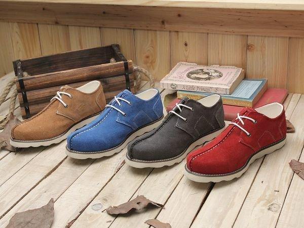 格子舖*【KV3781】固特異磨毛牛皮雅痞潮流真皮休閒鞋麂皮靴