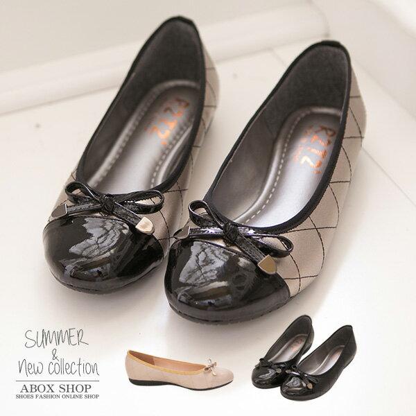 格子舖*【KIW131】MIT台灣製 摩登格菱紋車線雷射金屬亮皮 平底包鞋 3色 - 限時優惠好康折扣