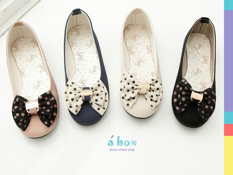 格子舖*【AW705】韓系優雅 點點蝴蝶結飾品 素面平底包鞋 台灣製 4色現貨 1