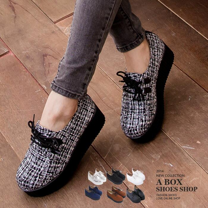 格子舖*【KWP7717】MIT台灣製 韓國流行風 厚底增高5.5CM 鬆糕鞋 毛呢厚底鞋 8色 0