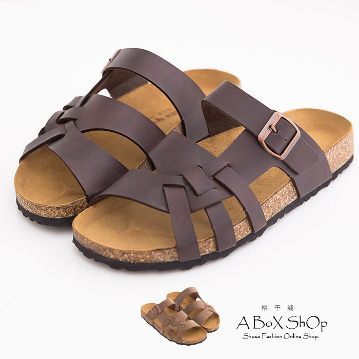 格子舖*【AW8492】就愛MIT台灣製高質感基本款皮革男款羅馬風 拖鞋 兩色 0