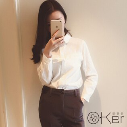 秋季時尚POLO領長袖俐落襯衫 S-XL O-Ker 歐珂兒 LLB620
