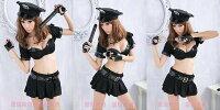 萬聖節Halloween到天使甜心 S8313黑色女警服含警帽棍銬萬聖節角色扮演