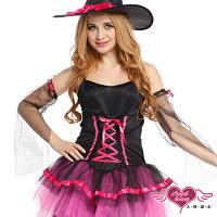 萬聖節Halloween到天使甜心☆ TH1541黑玫 女巫角色扮演 角色服Party 萬聖節 聖誕節 表演服