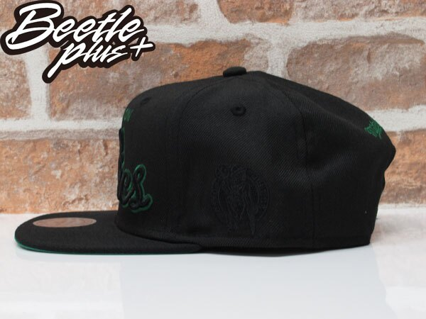BEETLE MITCHELL&NESS SNAPBACK 波士頓 塞爾提克 黑綠 文字 LOGO 螢光 後扣棒球帽 MN-356 1