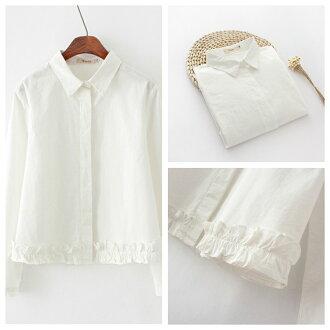 森女系優雅素色翻領下擺荷葉邊設計排扣長袖襯衫