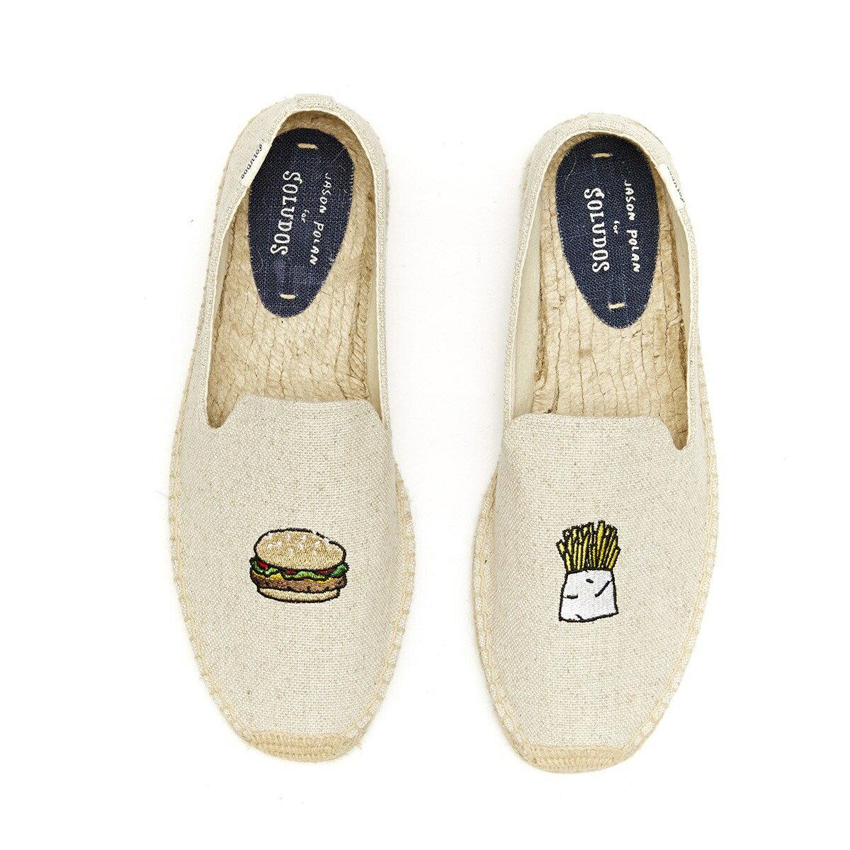【Soludos】美國經典草編鞋-塗鴉系列草編鞋-漢堡薯條/米色 1