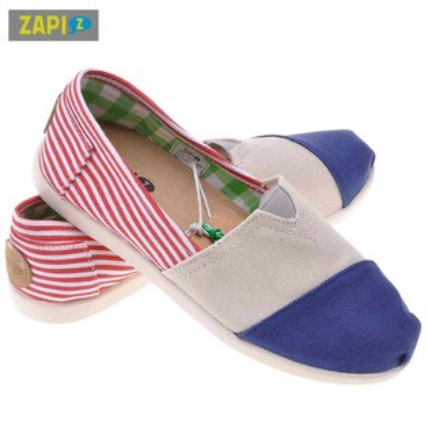 ZAPI休閒懶人鞋-紅白條紋