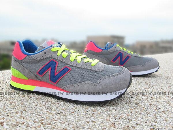 《超值6折》Shoestw【WL515GRA】NEW BALANCE NB 515 復古慢跑鞋 繽紛夏季 撞色 灰螢光 女生