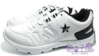【巷子屋】JIMMY POLO 男款五角星造型透氣運動跑鞋 [19022] 白黑 MIT台灣製造 超值價$298