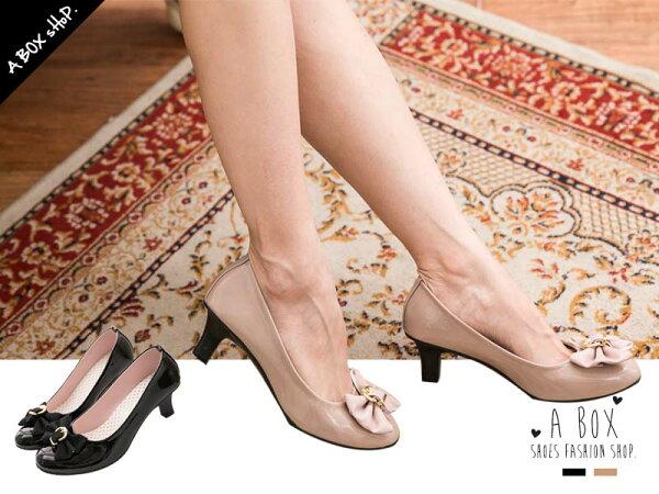 格子舖*【AW751】MIT台灣製 OL上班族必備款 緞帶蝴蝶結 亮皮6CM低跟好走高跟鞋 兩色