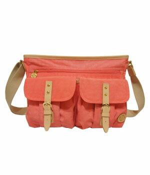 JJ001細緻多口袋斜背包─珊瑚紅 1
