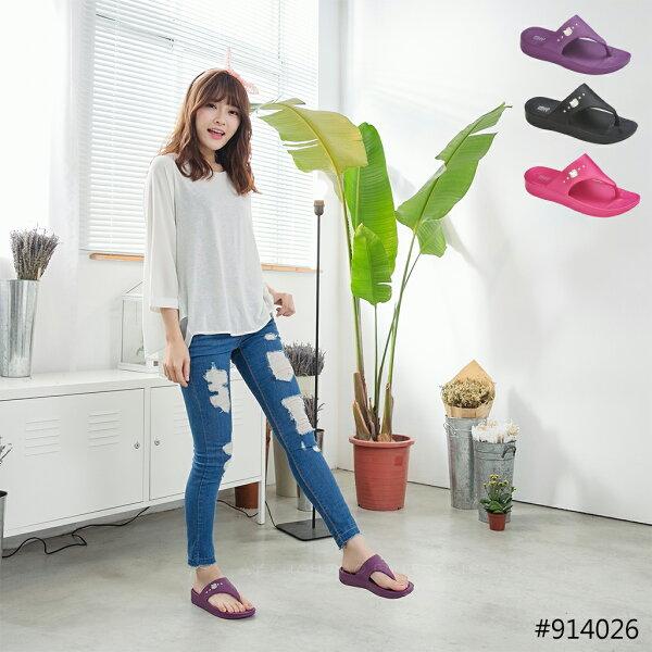 HELLO KITTY 凱蒂貓 914026 防水 厚底 夾腳拖鞋 一體成形 (黑 / 桃 / 紫色)